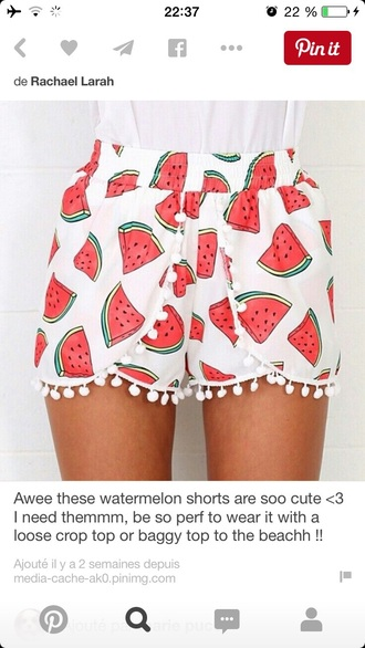 shorts watermelon print white red green black summer outfit pom poms pomp pom shorts