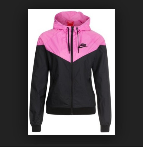 Jacket: pink, black, nike, xs, windrunner - Wheretoget