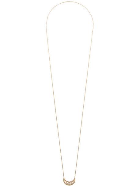 Noor Fares women necklace pendant crescent pendant gold grey metallic jewels