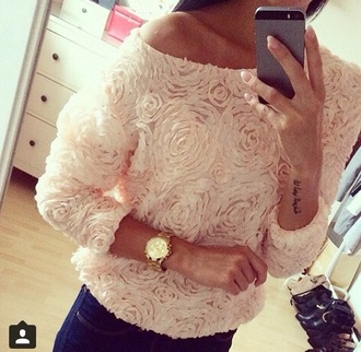 top textured top pink pastel rose off the shoulder top