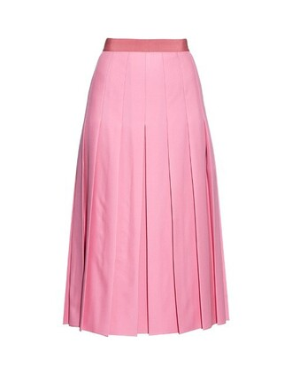 skirt pleated silk wool pink