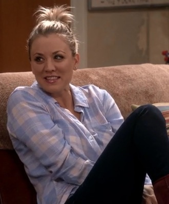 shirt penny blue white plaid big bang theory kaley cuoco