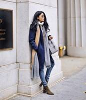 coat,tumblr,blue coat,denim,jeans,blue jeans,scarf,sunglasses,boots,mid heel boots,bag,grey bag,knitted scarf,winter outfits,winter look,striped scarf