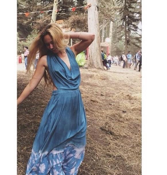 dress blue dress boho