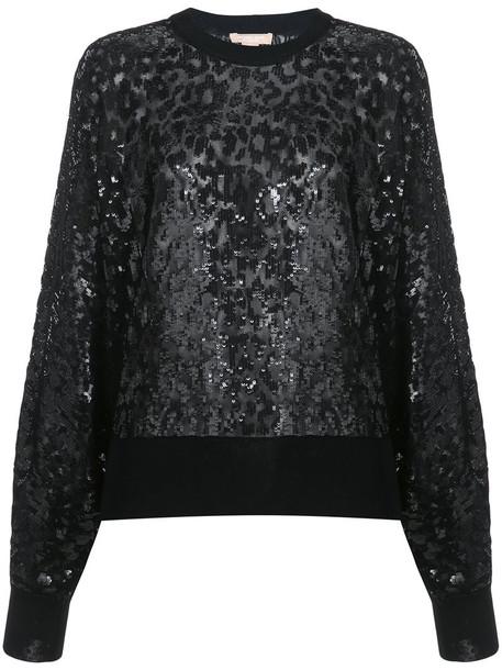 Michael Kors - sequen leopard pattern sweatshirt - women - Viscose - L, Black, Viscose