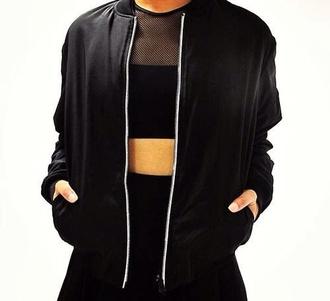 jacket black all black urban streetwear mesh fishnet 90s style mesh panel bomber jacket top skirt tank top shirt boyish all black everything leather jacket blackjacket blvck blvckfashion