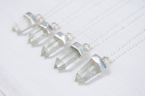 jewels quartz crystal necklace silver clear silver dipped quartz hand crafted