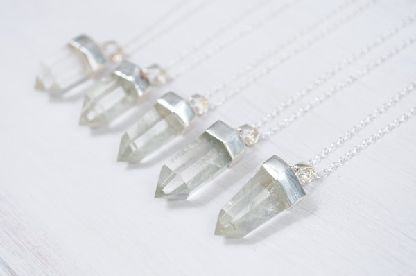 jewels silver dipped quartz silver quartz crystal hand crafted clear necklace