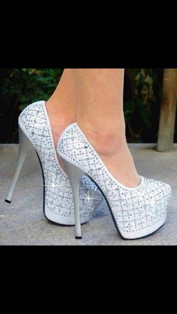 shoes heels crystal shiny silver high heels white sparkle classy pumps wedding shoes pumps hight heels red sole shiny