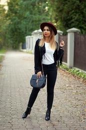 a piece of anna,blogger,shoes,jacket,bag,blouse,pants,hat,jewels