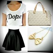 bag,michael kors,dope,gold bow,jewels,shirt,skirt