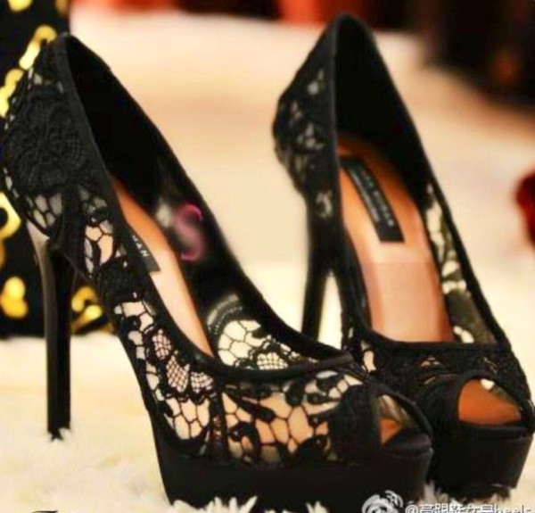 shoes black lace high heels black  high heels
