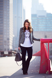 sequins and stripes,jacket,t-shirt,jeans,jewels,shoes,bag