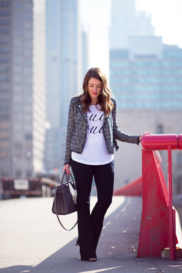 sequins and stripes jacket t-shirt jeans jewels shoes bag