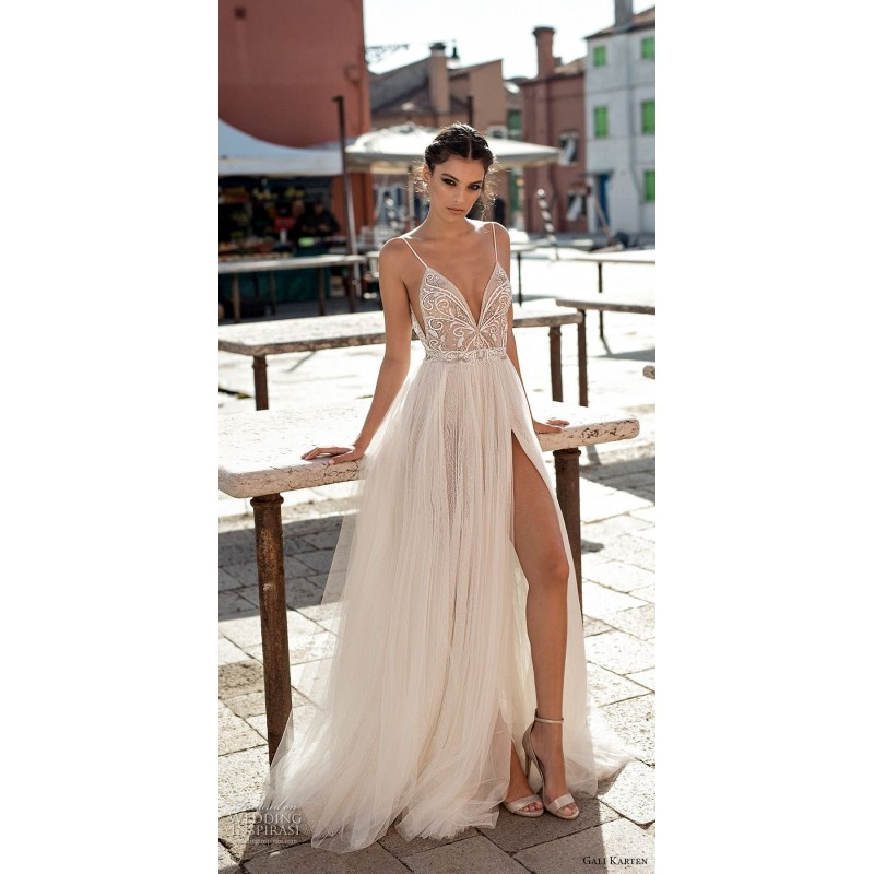Gali Karten 2018 Sweep Train Spaghetti Straps Split Aline Ivory Sleeveless Tulle Beading Dress For Bride - Customize Your Prom Dress