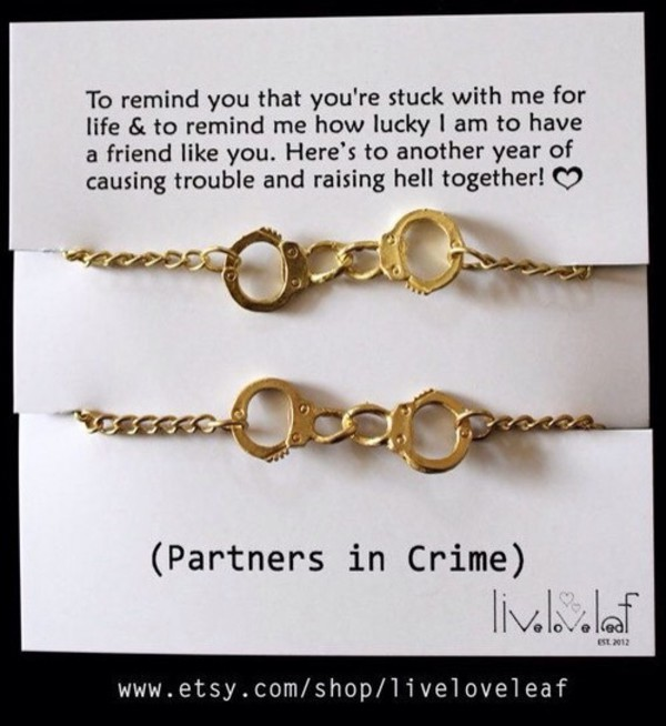 Silver toned partners in crime handcuff bracelets set of 2 friendship gift for friends 2 partners in crime bracelets best friends handcuffs silver toned partners in crime handcuff bracelets set of 2 friendship gift for friends handcuffs bracelet love friendship dom. Partner In Crime Bracelets On The Hunt.