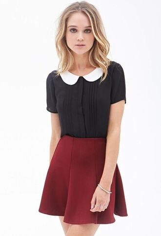 blouse clothes fashion trendy collar peterpan collar black white white blouse black and white white and black tshirt