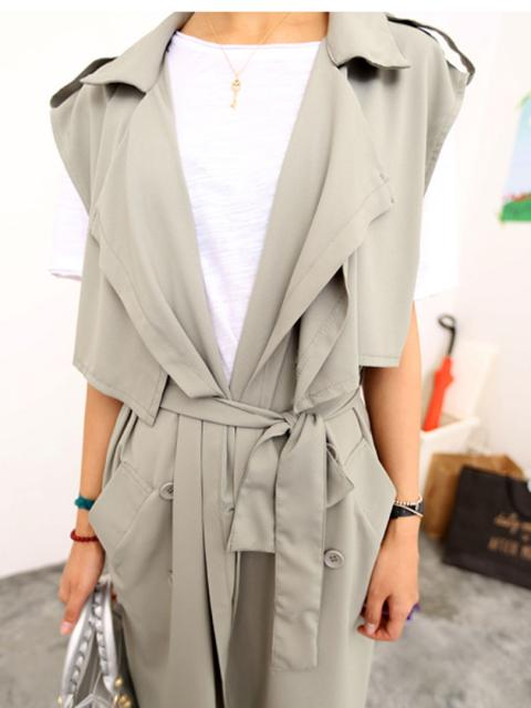 Gray Lapel Double-breasted Waistcoat with Waist Tie | Choies
