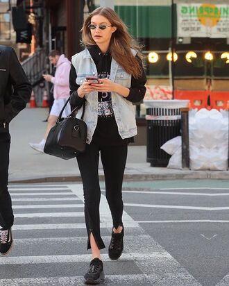 jacket denim denim vest black top black shoes bag pants