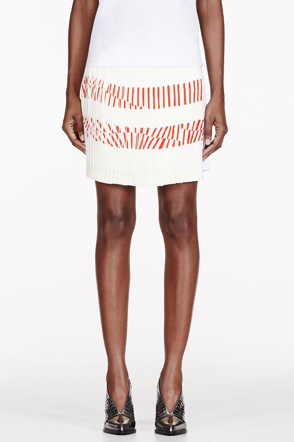 maiyet white silk printed pleated_paneled skirt