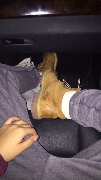 shoes timberlands greypants tan white boots joggers nails burgundy sweatpants