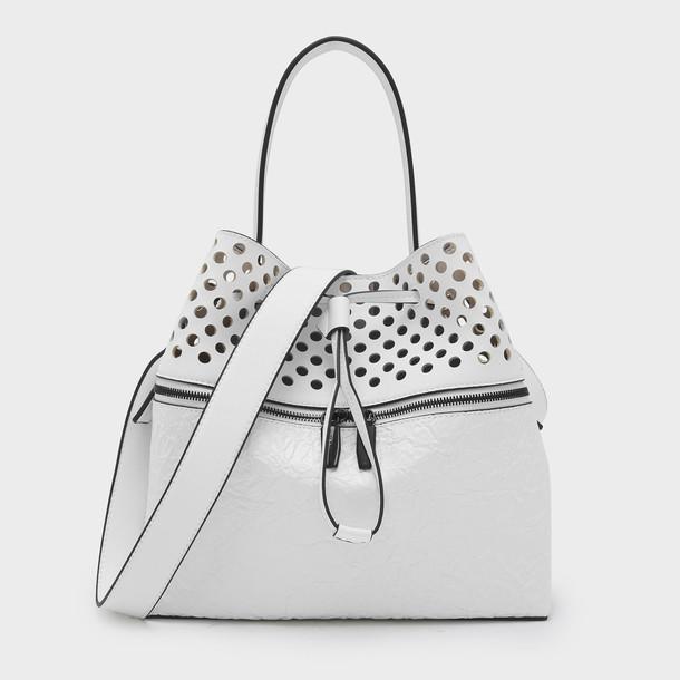 drawstring handbag white bag