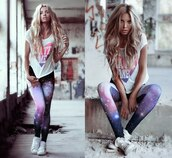 pants,leggings,fashion,galaxy print,clothes,shirt
