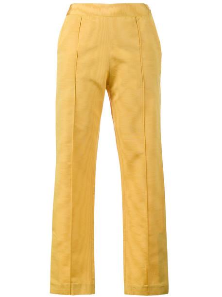 women silk wool yellow orange pants