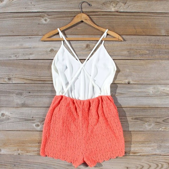 dress coral romper coral dress playsuit floral, romper, playsuit, white, lace, party, dress, short, pretty play suit, romper, one piece, onesie, angel biba, shorts, top, lace, floral cute cute outfits all cute outfits