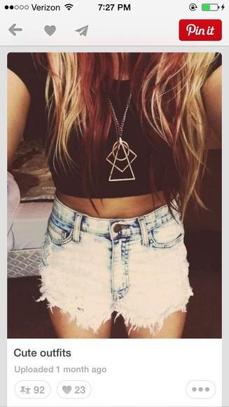 stacked jewelry shorts high waisted short denim shorts crop tops necklace gold neacklace