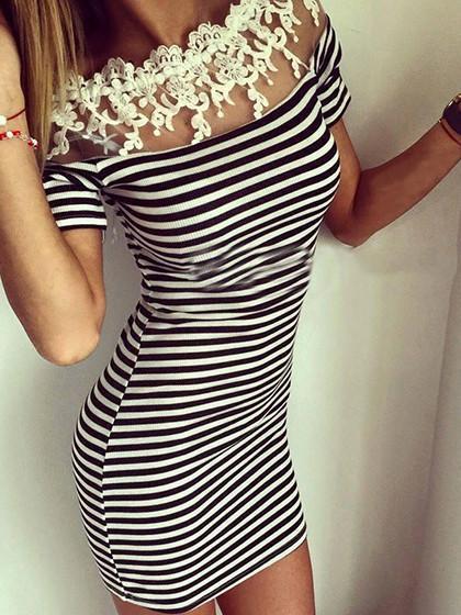Monochrome Stripe Off Shoulder Crochet Lace Sheer Panel Dress