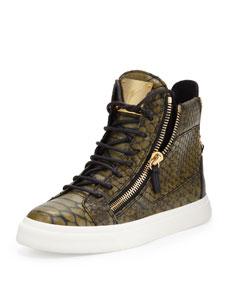 Giuseppe Zanotti Snake-Print Zip High-Top Sneaker, Green - Bergdorf Goodman