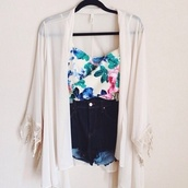 blouse,cardigan,stop top,High waisted shorts,summer,summer outfits,hipster,sweater,shorts,floral shirt,chiffon jacket,white flower top,cute top,cute floral top,pink,aqua,blue,green,white,tank top,bustier,crop,floral,cute,top,floral tank top,floral top,lovely,outfit,beautiful,gorgeous,jacket,kimono,sheer cardigan,offwhite kimono,sheer,off-white,sheer kimono,kimono lace white,bag,shoes