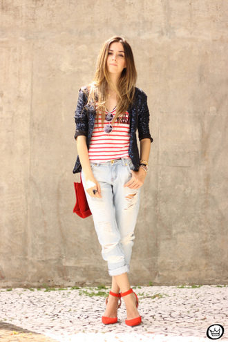 fashion coolture blogger pants jacket bag shoes red flats stripes sequins
