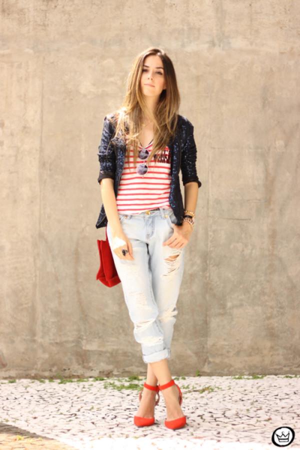 fashion coolture blogger pants jacket bag shoes red flats stripes sequins