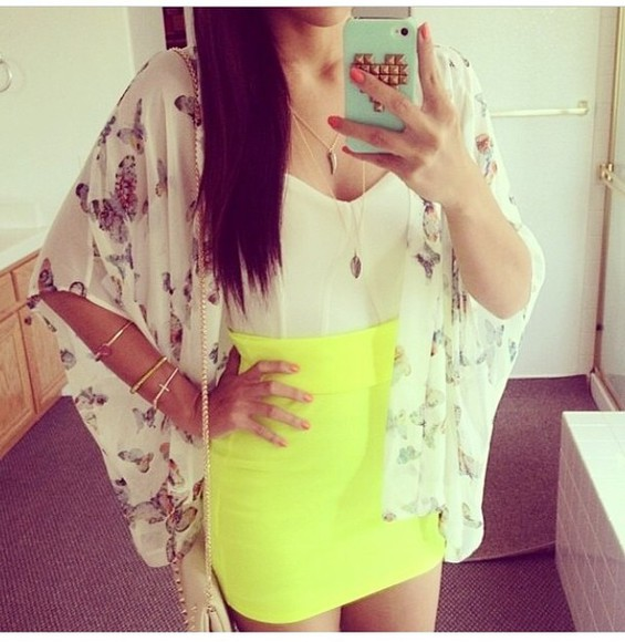 skirt neon skirt yellow bodycon skirt fashion girly bright colours outfit