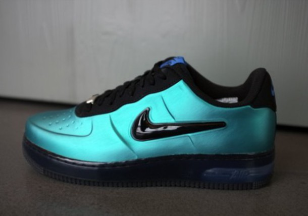 shoes, black swoosh, nike air force 1, turquoise, patent leather