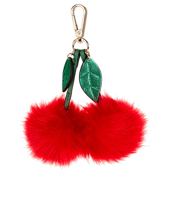 bag bag charm cherry pom poms