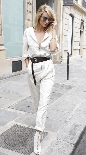 jumpsuit rosie huntington-whiteley belt sunglasses booties plunge v neck