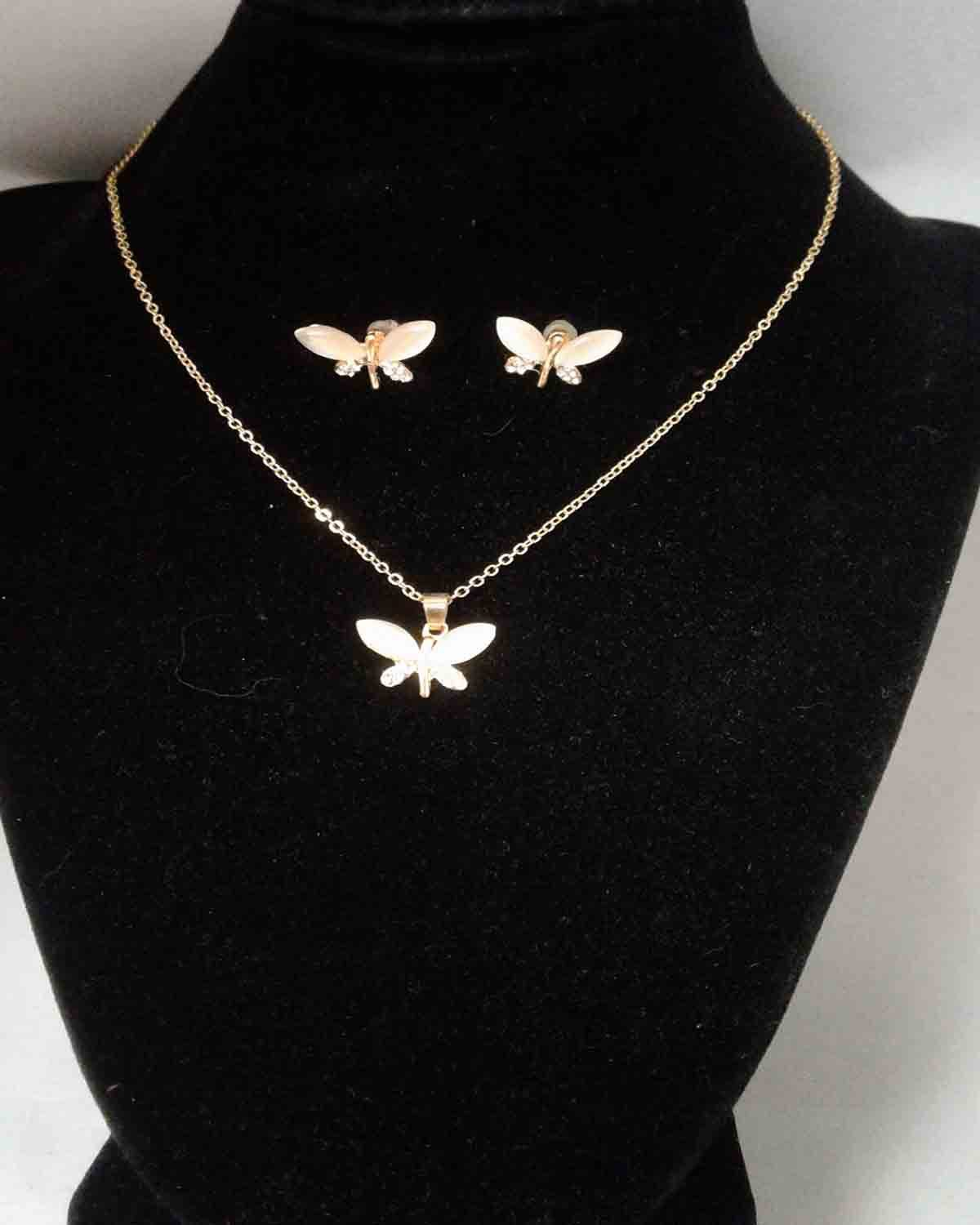 Opal DragonFly Necklace & Earring Set