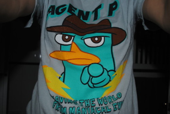 blue t-shirt tshirt Agent P grey t-shirt