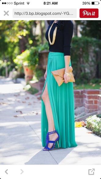 skirt turquoise maxi pleated slit maxi skirt chiffon