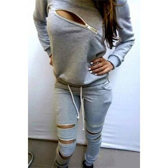 top zip grey grey sweater zipper sweater fall outfits casual autumn/winter urban trendy tracksuit jumpsuit sportswear zipped pants