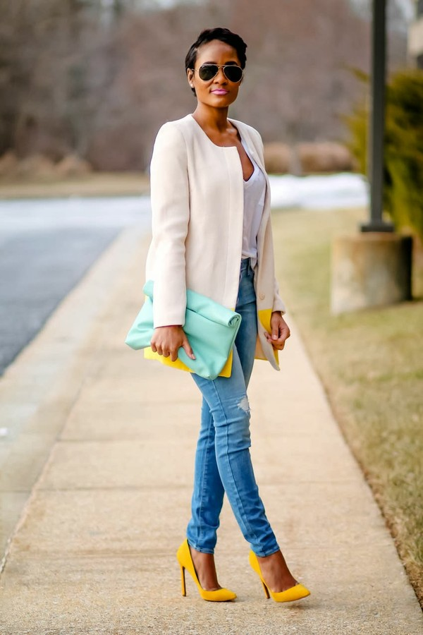 the daileigh coat t-shirt jeans bag sunglasses shoes blouse