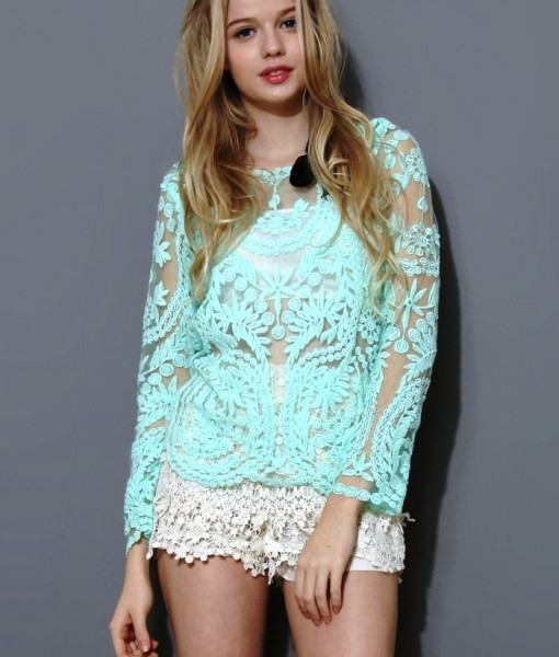 Noble Solid Color Embroidered Long Sleeved Lace Blouse | Fashion Uk Shop