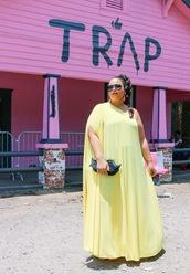 garner style,blogger,dress,jewels,bag,curvy,maxi dress,plus size dress,yellow dress