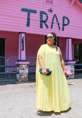 garner style blogger dress jewels bag curvy maxi dress plus size dress yellow dress