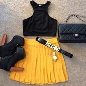 belt,moschino,black,gold,skirt,tank top,shoes,bag