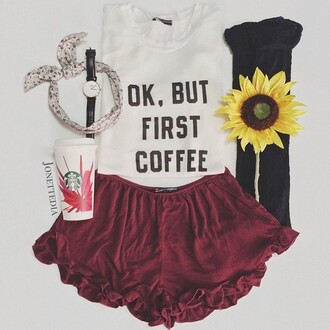 top pretty cute love tumblr tumblr outfit coffee skater skirt style fashion shorts