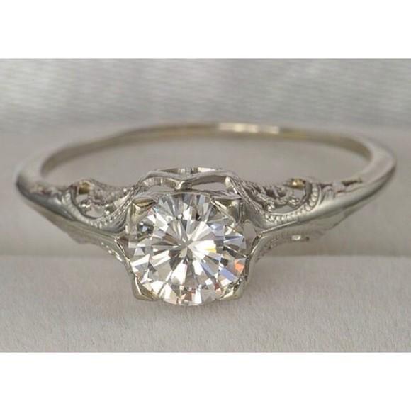 jewels engagement ring diamonds 1920 platinum art deco edwardian vintage ring filigree